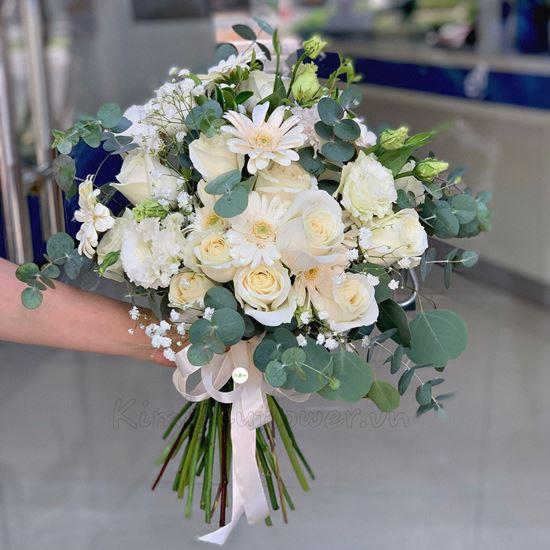 Bó hoa cưới hồng trắng, đồng tiền - HC38
