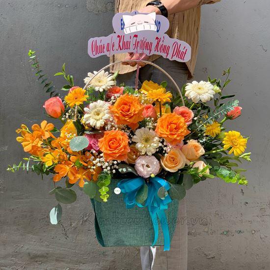 giỏ hoa hồng cam spirit, lan vàng - HG254