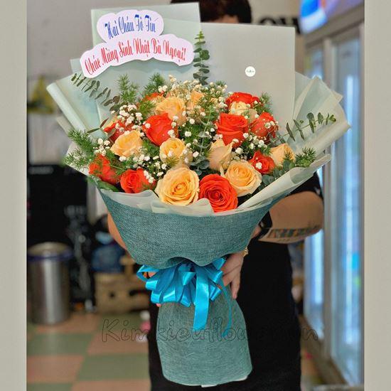 Bó hoa hồng mỡ gà, cam ớt - HB233
