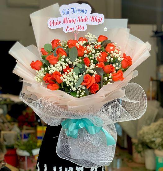 Bó hoa hồng đỏ cam - HQ70