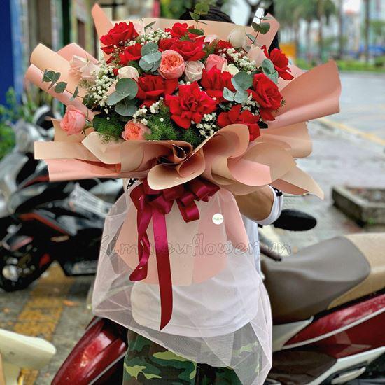 Bó hoa hồng đỏ, hồng london - HB237